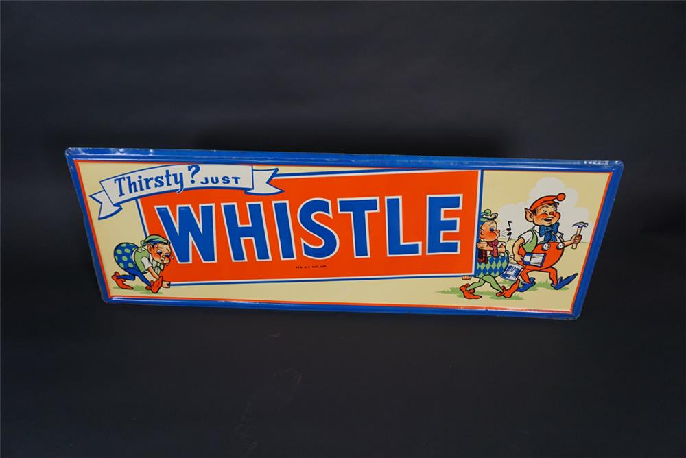 Rare 1948 Whistle Orange Soda horizontal tin sign with elf graphics. - Front 3/4 - 190879