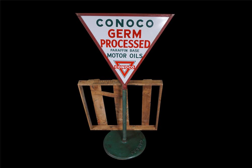 Museum-quality 1930s Conoco Germ Processed Motor Oils double-sided porcelain curb sign. - Front 3/4 - 190880