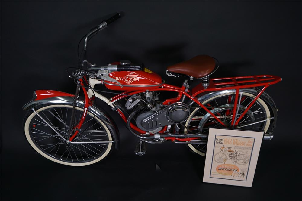 Nifty professionally restored 1948 Whizzer Motor Bicycle on a Schwinn frame. - Front 3/4 - 190881