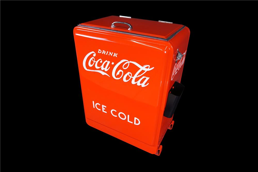 Professionally restored 1930s-40s Coca-Cola Westinghouse refrigerated soda bottle cooler. - Front 3/4 - 190884