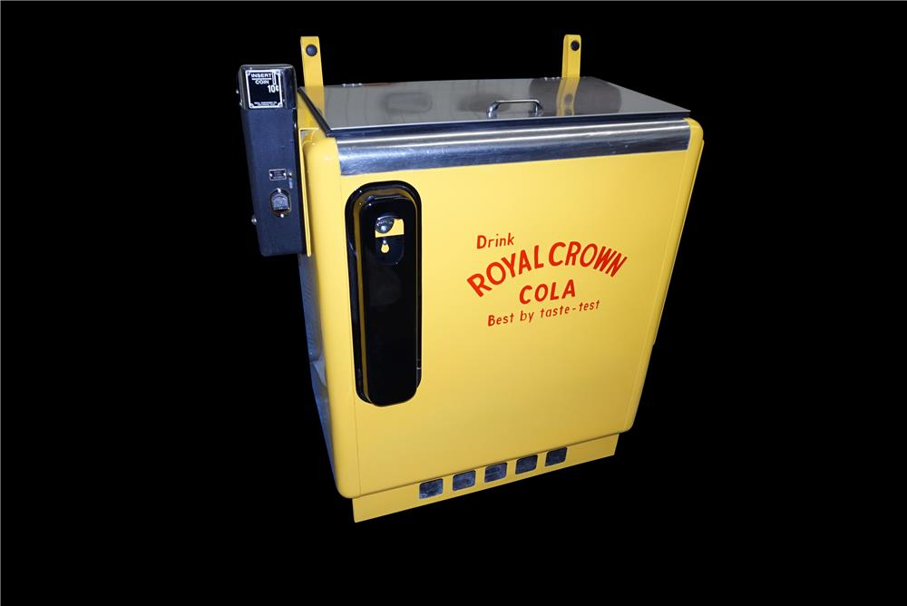 Hard to find restored 1950s Royal Crown Cola embossed ten cent coin-operated slider bottle machine. - Front 3/4 - 190888