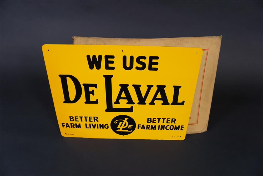 NOS 1950s DeLaval Farm Equipment single-sided tin painted sign - Front 3/4 - 190892
