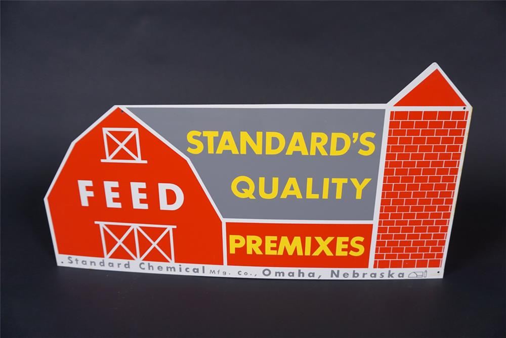 NOS 1950s-60s Standard Quality Feeds single-sided tin die-cut barn shaped sign. - Front 3/4 - 190895