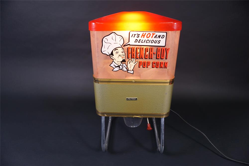 Circa 1950s-1960s French Boy Pop Corn warmer vendor made by ABC Popcorn Company. - Front 3/4 - 190898