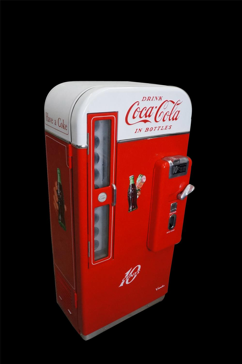 Highly desirable professionally restored 1950s Coca-Cola Vendo 81 10 cent coin-operated soda machine. - Front 3/4 - 190903