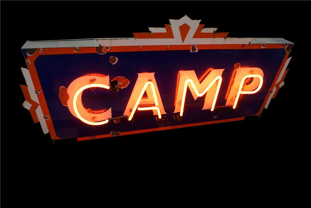 1930s Camp single-sided neon porcelain campground sign. - Front 3/4 - 190908