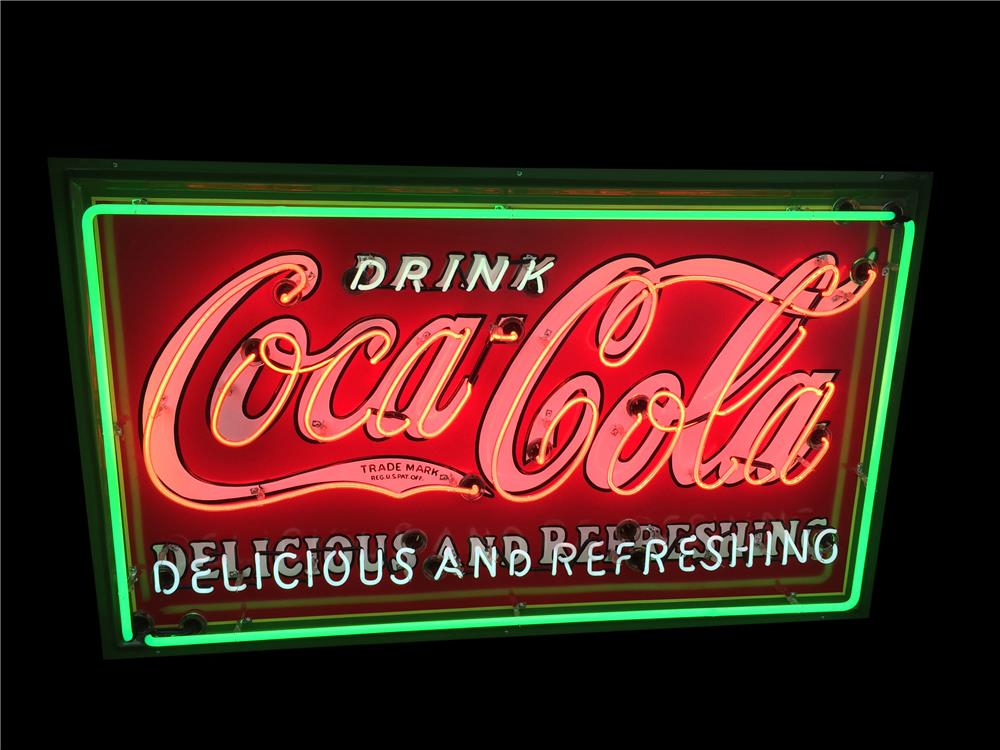 "Sharp 1930s Coca-Cola ""Delicious-Refreshing"" single-sided porcelain with neon soda fountain sign. - Front 3/4 - 190914"