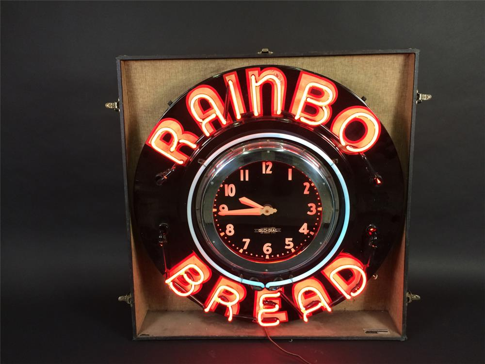 Museum quality all original 1930s Rainbo Bread Glo-Dial full size salesman sample neon clock. - Front 3/4 - 190917
