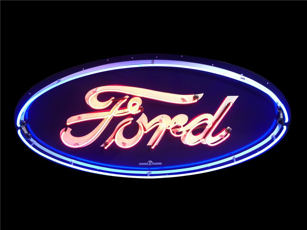 Iconic 1930s-40s Ford Automobiles single-sided neon porcelain dealership sign. - Front 3/4 - 190918