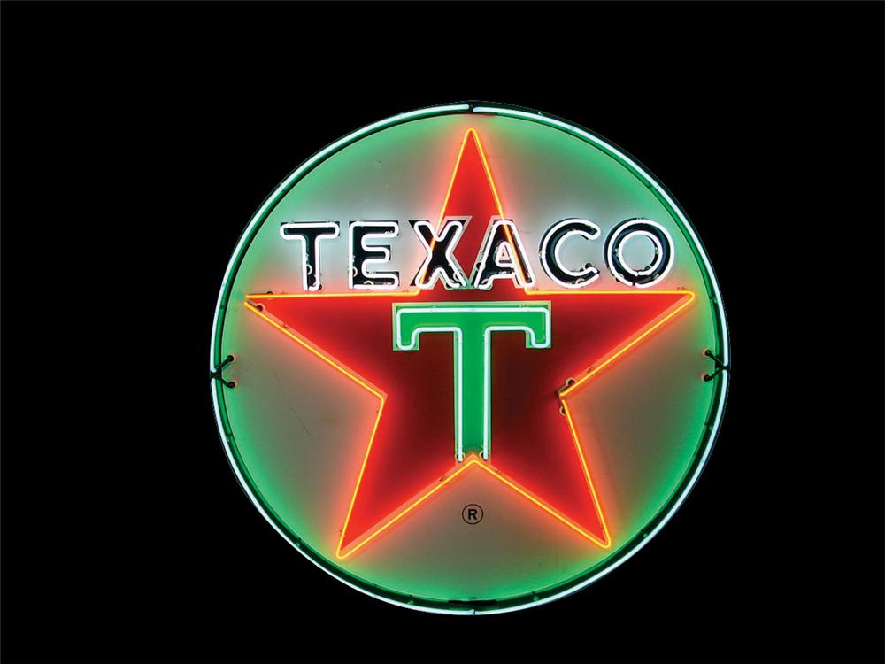Fabulous Circa 1950s-early 60s Texaco Oil service station single-sided porcelain dealership sign with animated neon. - Front 3/4 - 190920