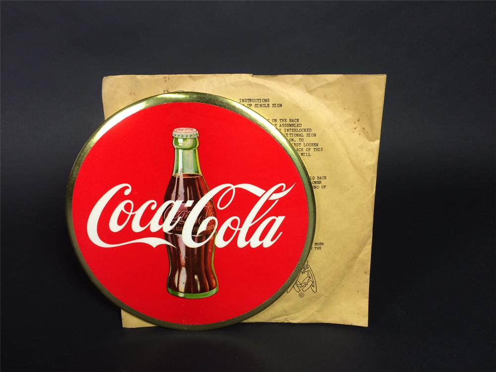 NOS late 1940s Coca-Cola celluloid disc sign with bottle logo still in the original shipping sleeve. - Front 3/4 - 190921