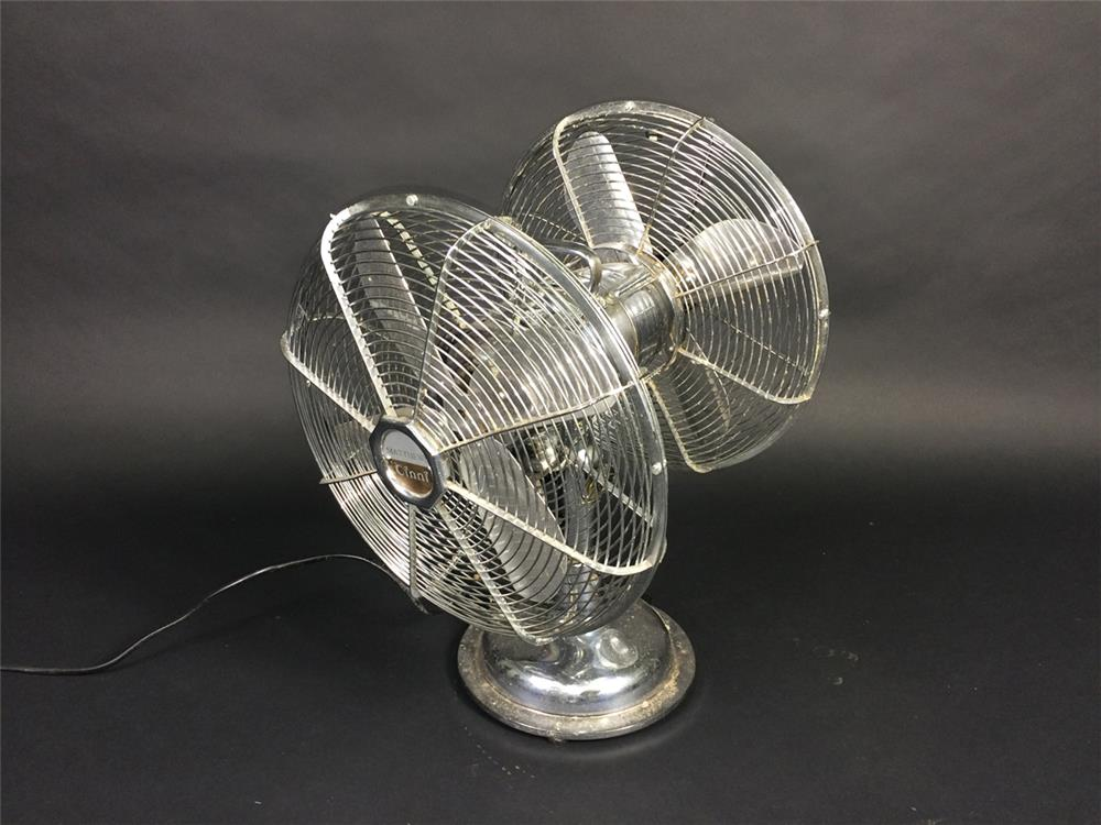 Neat 1950s dual electric service department fan by Cinni. - Front 3/4 - 190922