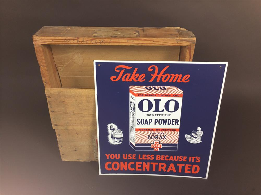 NOS 1930s Olo Soap Powder single-sided tin sign in the original shipping crate. - Front 3/4 - 190923