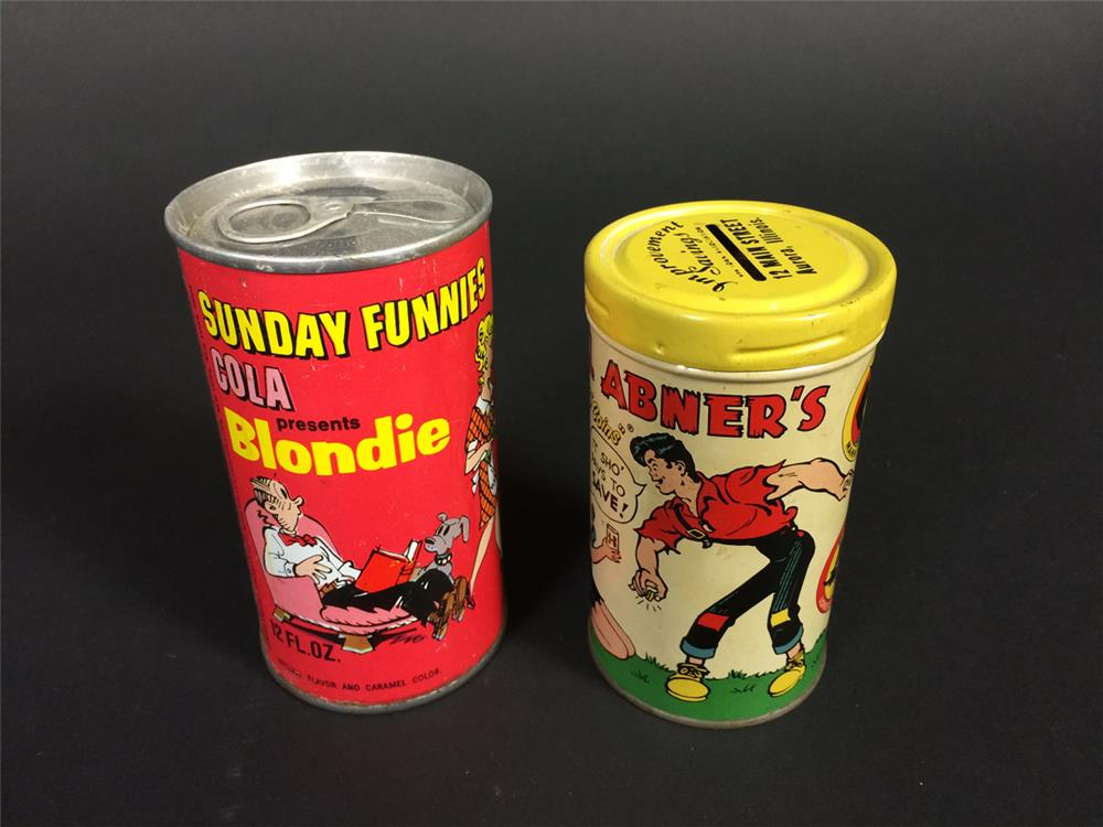 Lot consisting of a 1953 Lil Abner's coin-bank and an early 60s Blondie Cola tin. - Front 3/4 - 190927