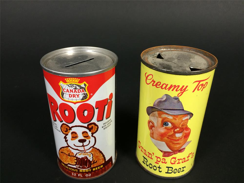 Lot consisting of a 1950s Graf's Root Beer tin and a 1960s Rooti Root Beer money bank. - Front 3/4 - 190928