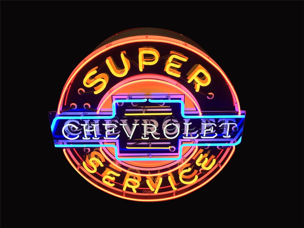 Exceptionally clean Chevrolet Super Service double-sided neon porcelain dealership sign. - Front 3/4 - 190932