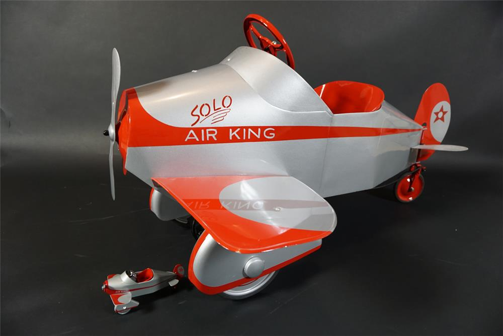 Hard to find 1930s Gendron Sky King restored original pedal car airplane with reproduction Hallmark commemorative model. - Front 3/4 - 190999
