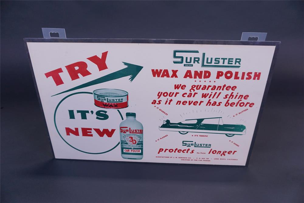 Unusual NOS 1950s Surluster Automotive Wax and Polish automotive garage cardboard - Front 3/4 - 191092