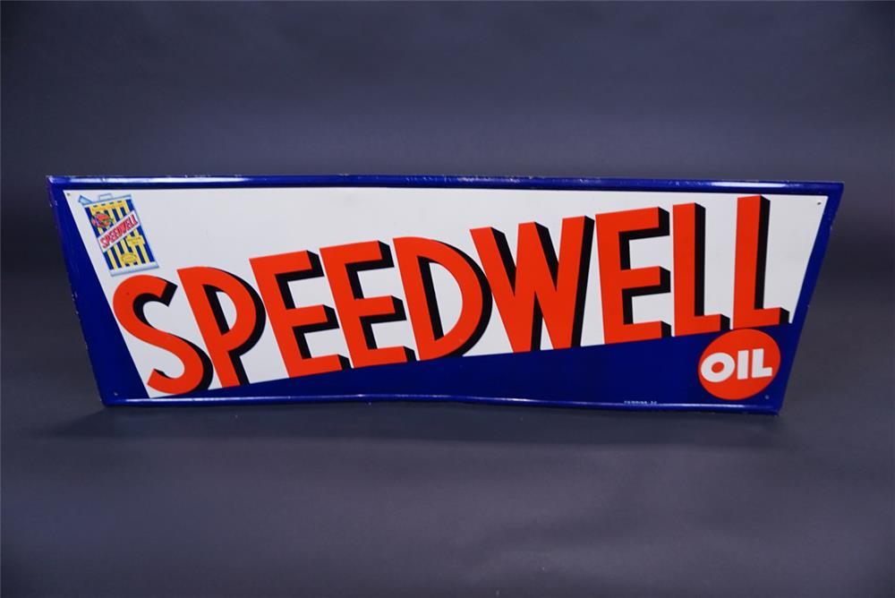 Fantastic NOS circa 1930s Speedwell Motor Oil single-sided tin automotive garage sign - Front 3/4 - 191094