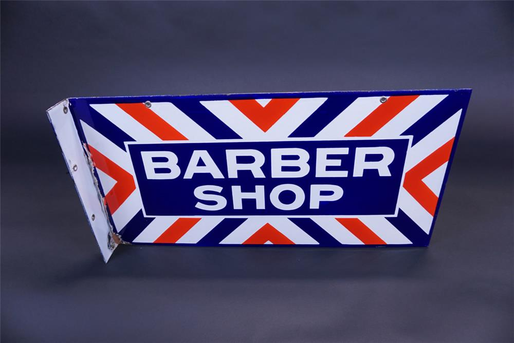 Circa 1940s-50s Barber Shop double-sided porcelain flange sign. - Front 3/4 - 191095