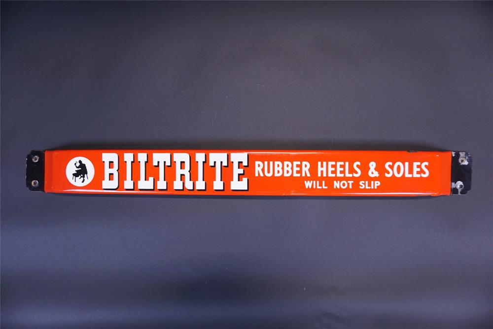 Circa 1940s-50s Biltrite Rubber Heels and Soles single-sided porcelain push bar sign. - Front 3/4 - 191096
