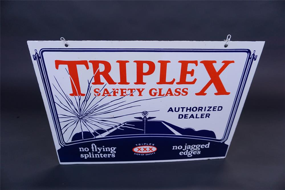 Stunning late 1920s-early 30s Triple X Safety Glass double-sided porcelain automotive garage sign - Front 3/4 - 191097