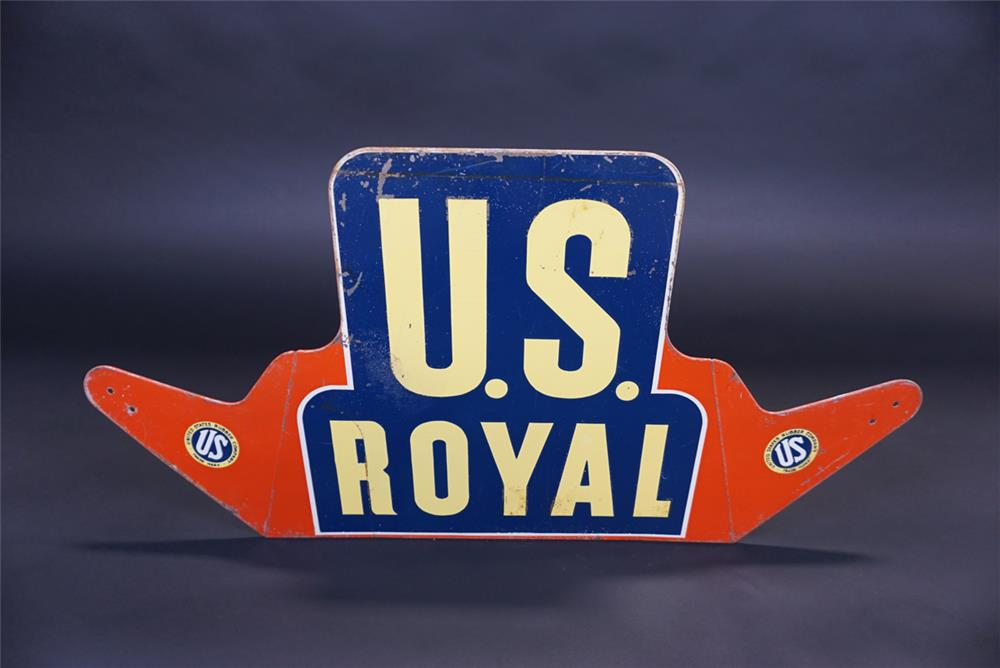 Vintage U.S. Royal Tires single-sided die-cut tin service station tire display sign. - Front 3/4 - 191099