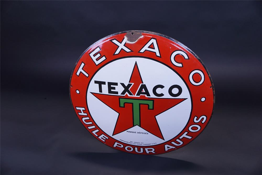 "Very unusual 1930s Texaco ""Huile Pour Autos"" single-sided concave porcelain service station sign - Front 3/4 - 191102"