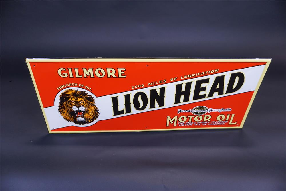 Outstanding NOS Gilmore Lion Head Motor Oil single-sided tin sign with Lion Head graphic. - Front 3/4 - 191104