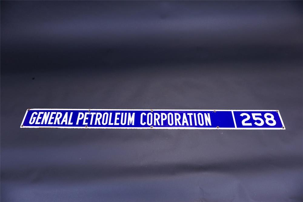 1940s General Petroleum Corporation single-sided porcelain oil well sign. - Front 3/4 - 191106