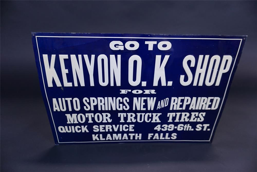 NOS 1920s O.K. Automotive Shop for Auto Springs and Tires. - Front 3/4 - 191107