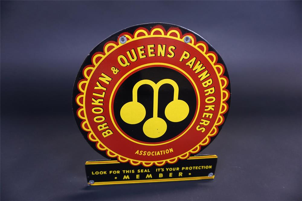 Unusual 1940s Brooklyn and Queens Pawnbrokers single-sided porcelain sign. - Front 3/4 - 191111