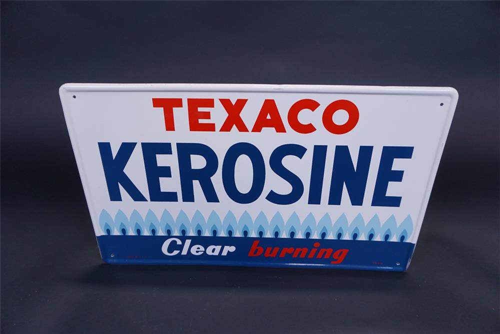 "NOS 1959 Texaco Kerosene ""Clear Burning"" single-sided tin service station sign. - Front 3/4 - 191115"