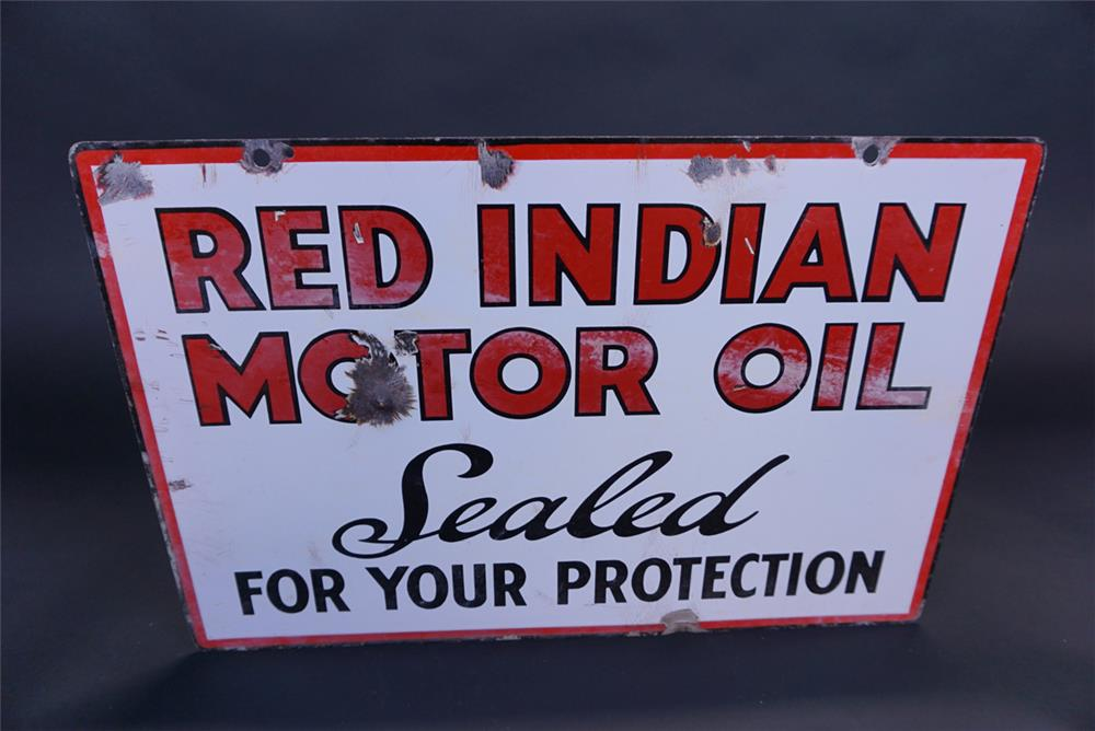 "Rare 1930s Red Indian Motor Oil ""Sealed For Your Protection"" double-sided porcelain service station sign. - Front 3/4 - 191116"