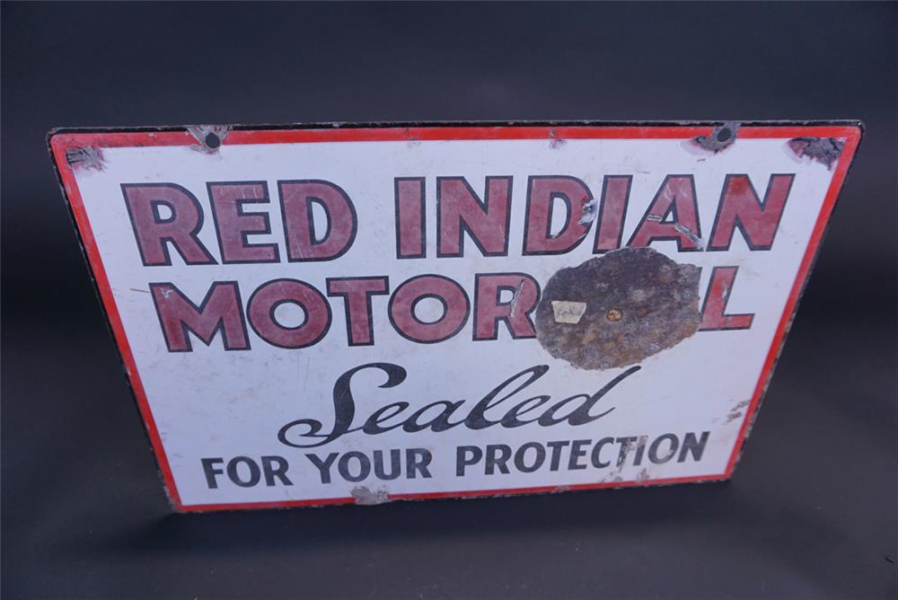 "Rare 1930s Red Indian Motor Oil ""Sealed For Your Protection"" double-sided porcelain service station sign. - Rear 3/4 - 191116"