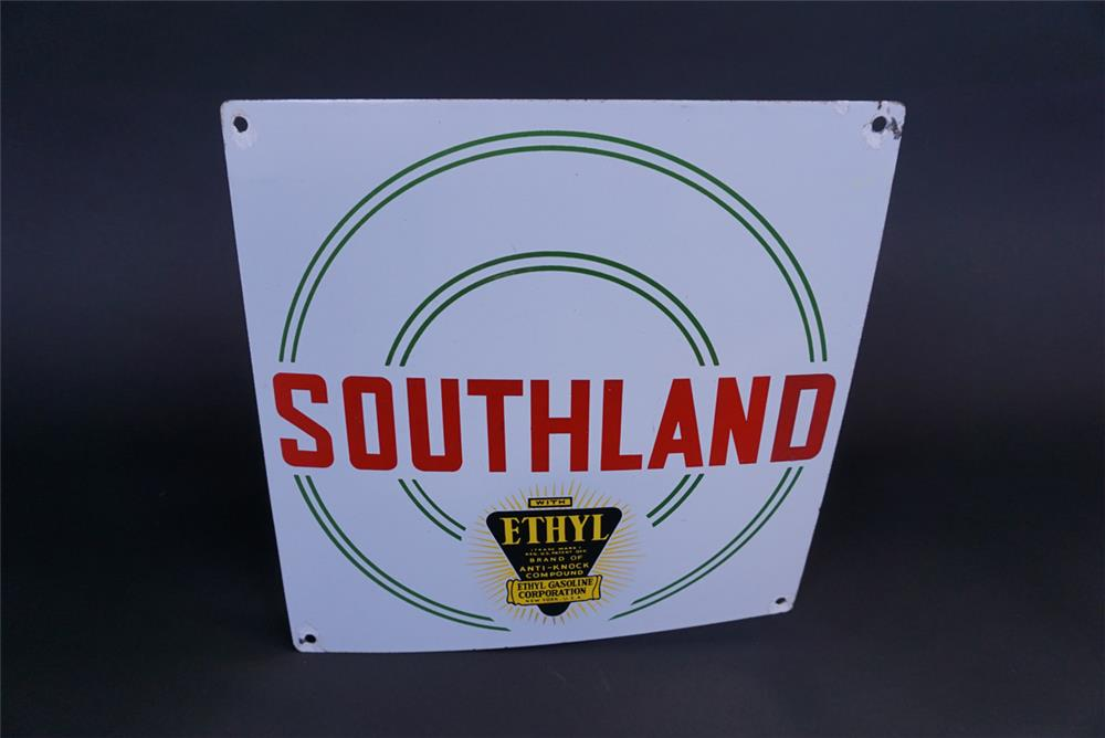 Terrific Southland with Ethyl Gasoline single-sided porcelain pump plate sign - Front 3/4 - 191120