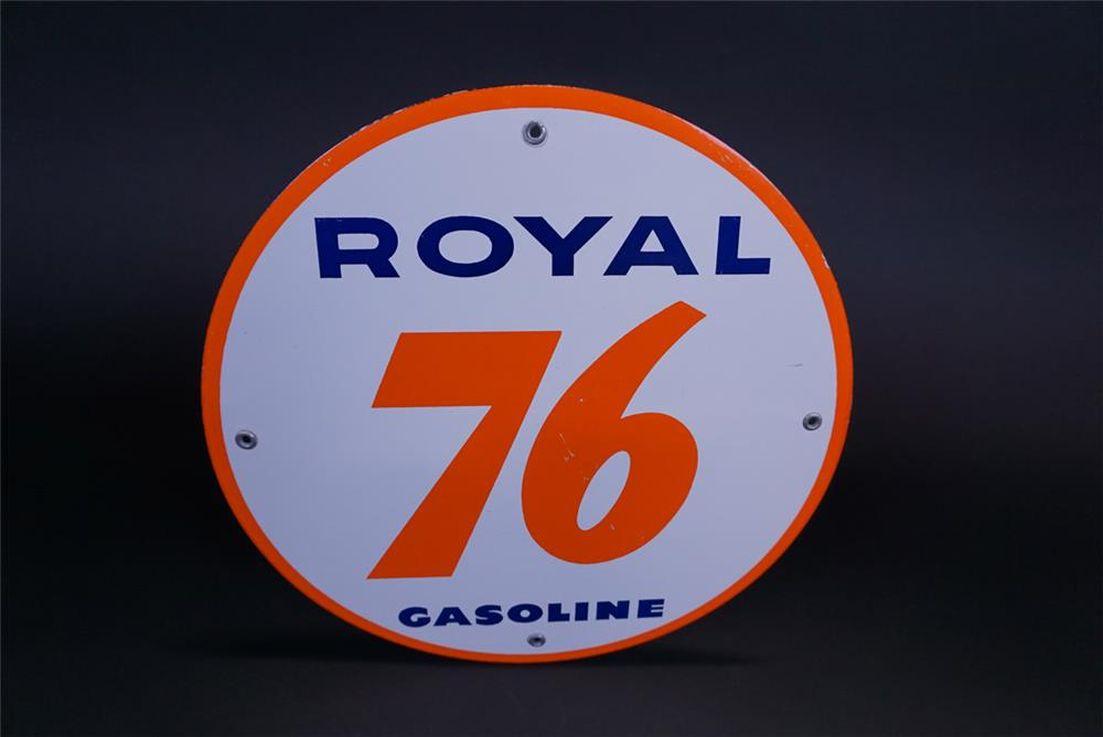 NOS Union 76 Royal Gasoline porcelain pump plate sign. - Front 3/4 - 191122
