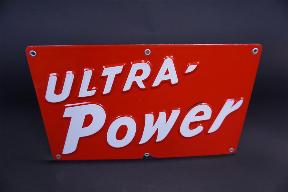 NOS 1950s Ultra Power Gasoline single-sided embossed porcelain pump plate sign. - Front 3/4 - 191123