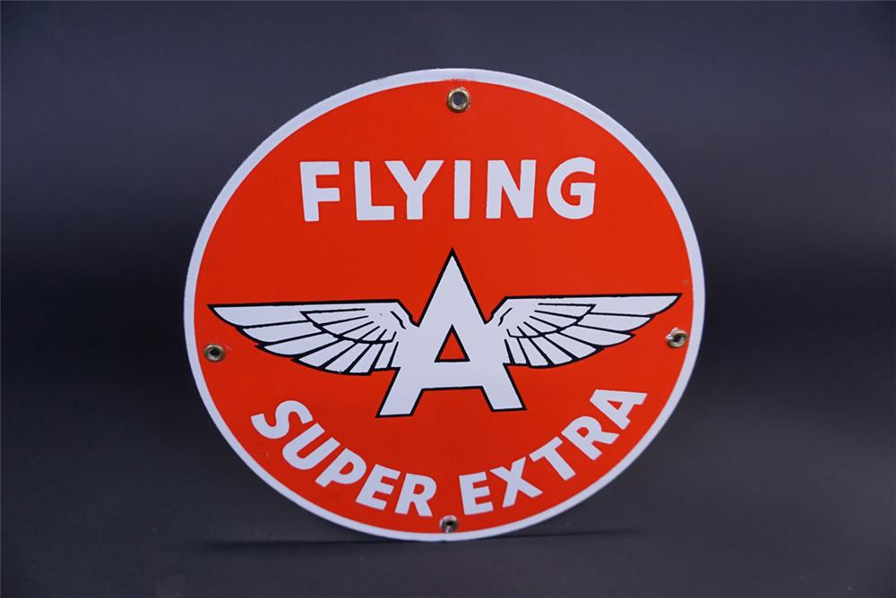 NOS early-1950s Associated Flying A Super Extra single-sided porcelain pump plate sign. - Front 3/4 - 191125