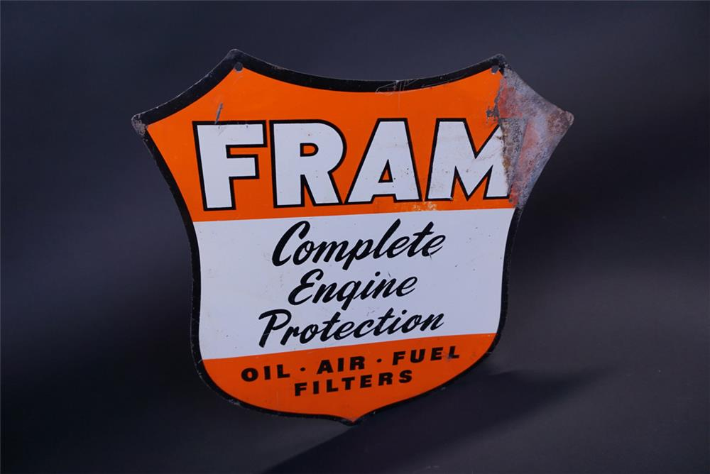 "Interesting FRAM ""How's Your Oil Filter"" double-sided die-cut tin shield-shaped sign. - Rear 3/4 - 191126"