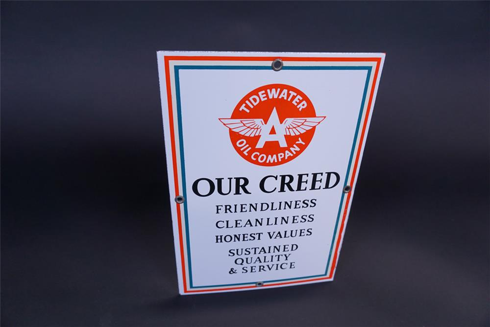 Highly desirable early-1950s Associated Tidewater Flying A Gasoline service station restroom creed porcelain sign. - Front 3/4 - 191128