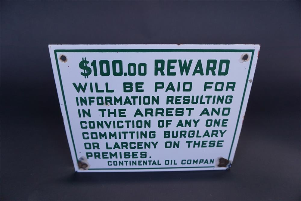 Circa 1920s-30s Continental Oil Company $100 Reward filling station porcelain sign. - Front 3/4 - 191131
