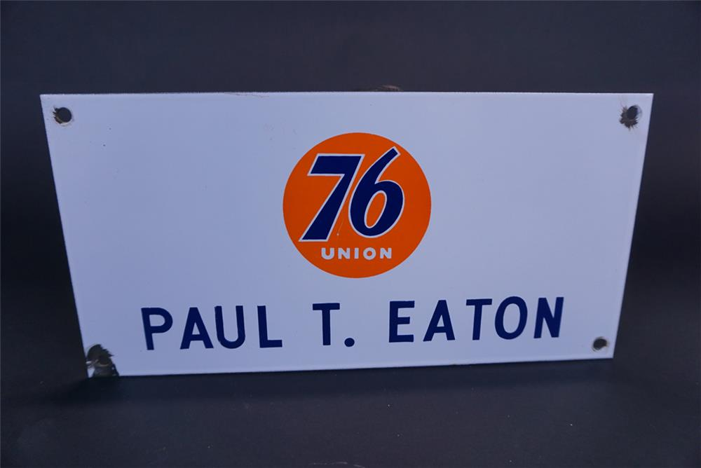 "Choice Union 76 single-sided porcelain service station sign for ""Paul Eaton"" proprietor. - Front 3/4 - 191300"