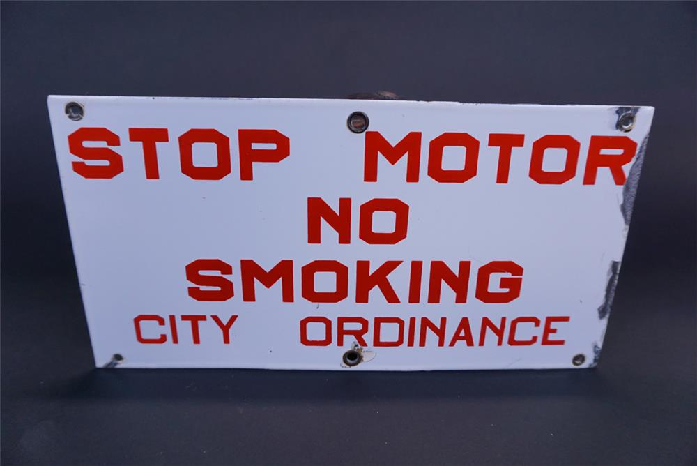 "Vintage filling station ""Stop Motor No Smoking"" single-sided porcelain sign. - Front 3/4 - 191301"
