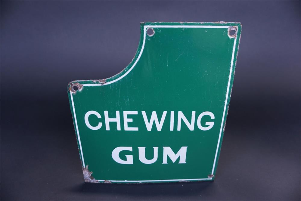 Unusual 1930s Chewing Gum single-sided porcelain general store sign. - Front 3/4 - 191302