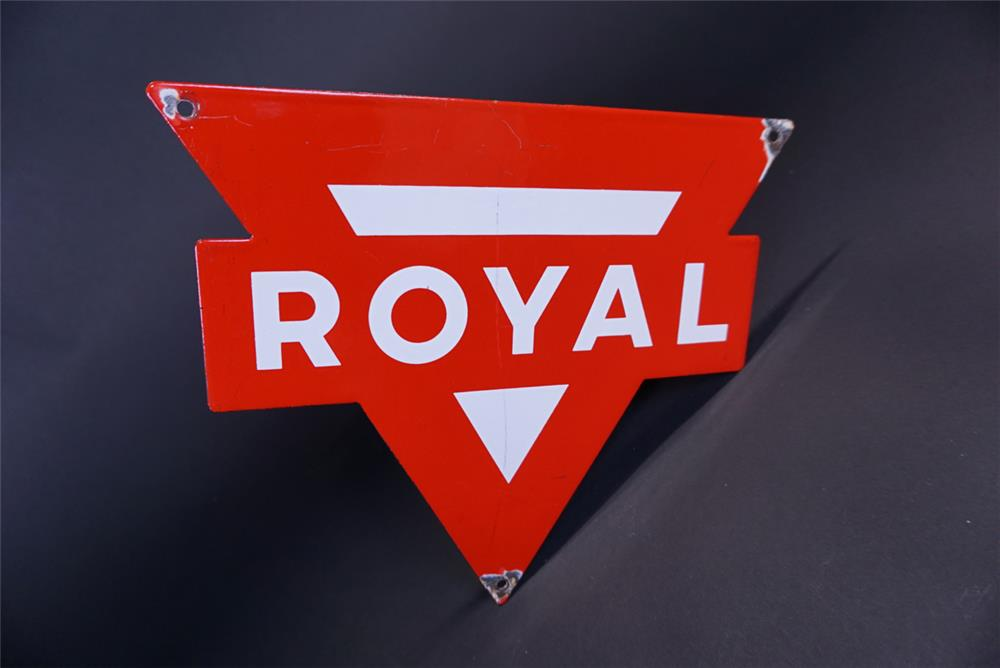 Circa 1950s Conoco Royal Gasoline single-sided die-cut porcelain pump plate sign - Front 3/4 - 191308