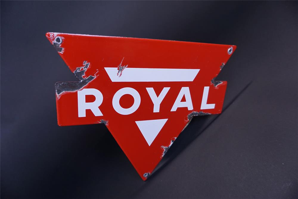 Circa 1950s Conoco Royal Gasoline single-sided die-cut porcelain pump plate sign. - Front 3/4 - 191310