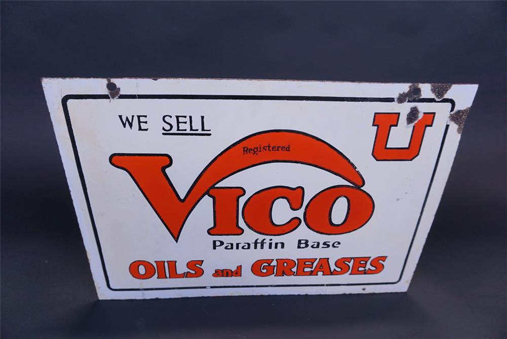 Extremely hard to find Vico Oils and Greases of Utah double-sided porcelain service station sign. Subsidiary of Standard Oil - Front 3/4 - 191311