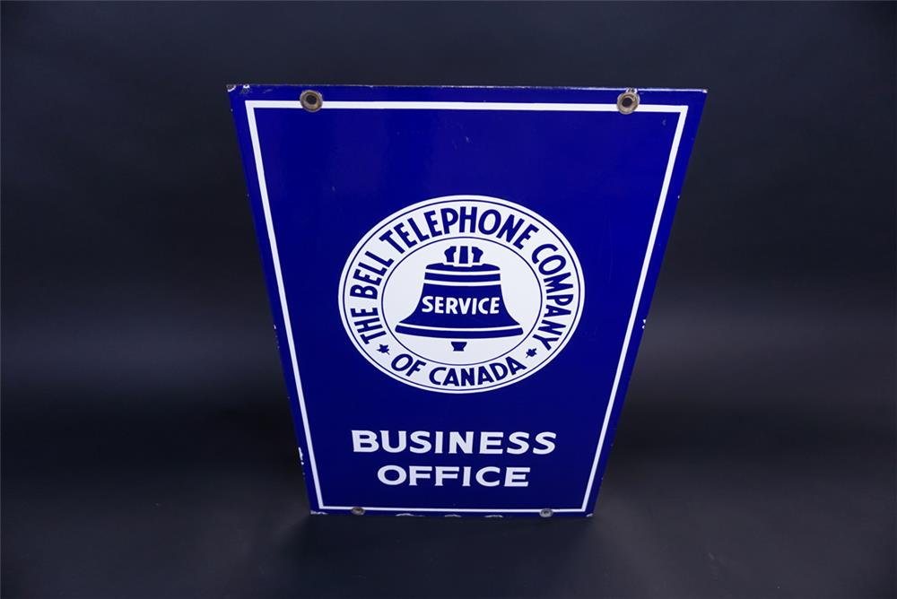 Fantastic circa 1940s Bell Telephone of Canada Business Office double-sided porcelain sign. - Front 3/4 - 191312
