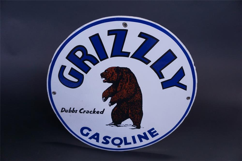 Montana single-sided porcelain pump plate sign with Grizzly Bear logo - Front 3/4 - 191313